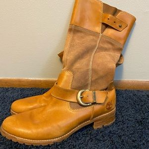 Brown Timberland long boots, size 9.5 never worn